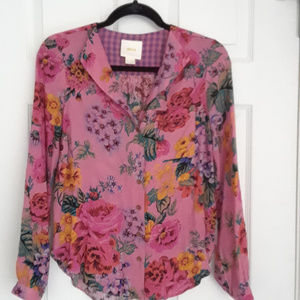 Anthropologie Maeve pink floral blouse (size 0)